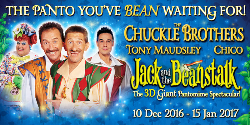The Chuckle Brothers, Tony Maudsley from Benidorm, and Chico from The X Factor pose in their brightly coloured costumes for this year's pantomime, Jack and the Beanstalk, against a sparkling blue background with beanstalks climbing up the sides. The tagline reads: 'The panto you've bean waiting for!'